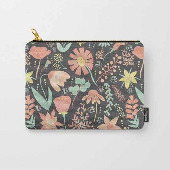 Peachy Keen Wildflowers Carry-All Pouch