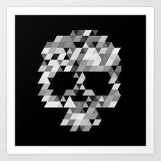 Skull bw Art Print