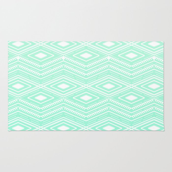 Hipster Mint Green Arrows Aztec Tribal Pattern Rug