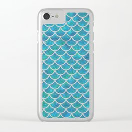Mermaid scales iridescent sparkle Clear iPhone Case