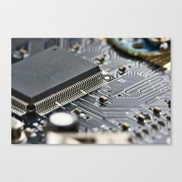 Elements of electronic circuit board Canvas Print