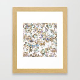 Vintage blush lavender brown teal blue roses floral Framed Art Print