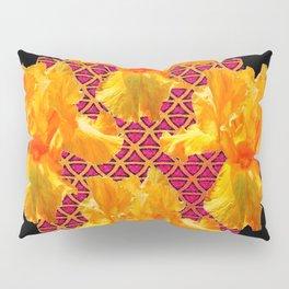 Golden Spring Iris Patterned Black  Decor Pillow Sham
