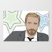ryan gosling Canvas Prints featuring GOSLING by Tara Durrant Designs
