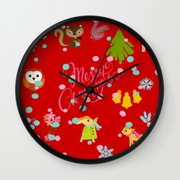marry christmas pattern red Wall Clock