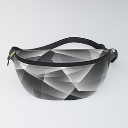 Metallic mosaic pattern of chaotic black and white fragments of glass, foil, glare and silver. Fanny Pack