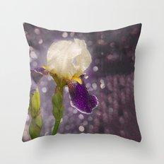 Rain drops Iris Throw Pillow
