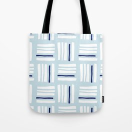 Stripes×Checkered Pattern_Ice blue&Navy Tote Bag