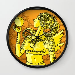 fantasy winged woman holding a peach Wall Clock