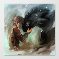 hiccup Canvas Prints featuring hiccup & toothless by AkiMao