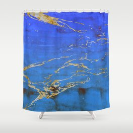 Sky Blue Marble With 24-Karat Gold Nugget Veins Shower Curtain