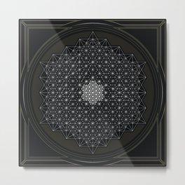 Geometry Tetrahedron Grid Metal Print