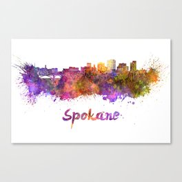 Spokane skyline in watercolor Canvas Print
