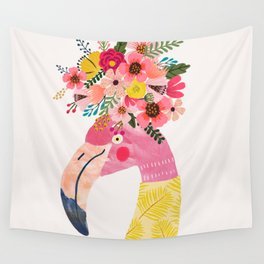 Pink flamingo with flowers on head Wall Tapestry