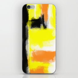 orange yellow and black painting abstract with white background iPhone Skin