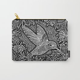 Hummingbird In Flowery Wreath Linocut Carry-All Pouch