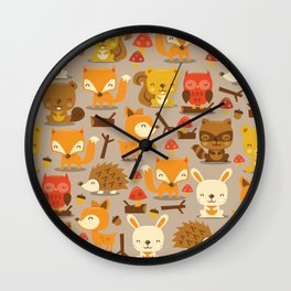 Super Cute Woodland Creatures Pattern Wall Clock