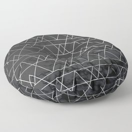 Silver Geometric Modern Pattern Trendy Black Marble Floor Pillow