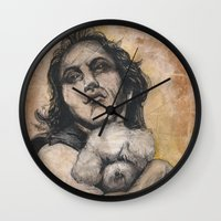 silence of the lambs Wall Clocks featuring Playing Lambs by Colunga-Art