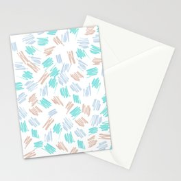 Modern pastel brown teal watercolor brushstrokes pattern Stationery Cards
