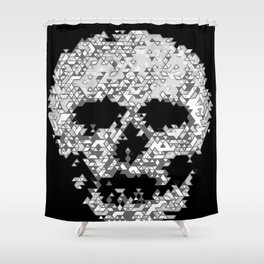 Geometric Light Grey Skull Composed Of Triangles Shower Curtain
