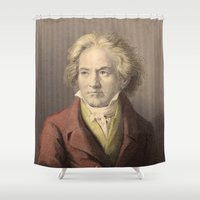 beethoven Shower Curtains featuring Beethoven by Palazzo Art Gallery