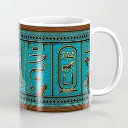 Egyptian Golden Leather hieroglyphs embossed on teal Coffee Mug