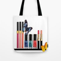 nail polish Tote Bags featuring Butterflies, Lipstick & Nail Polish by Luxe Glam Decor