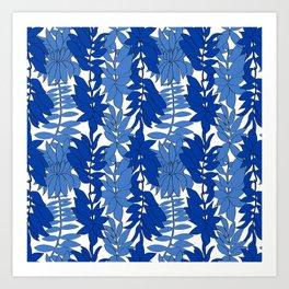 60's Chinoiserie Vines in White + Blue Art Print