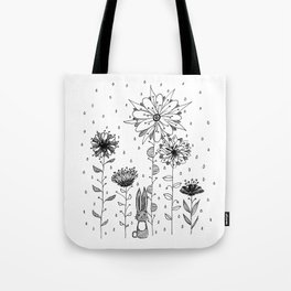 Bunny and flowers Tote Bag