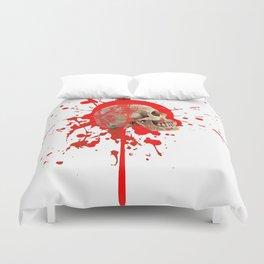 WHITE RED EXPLODING BLOODY SKULL HALLOWEEN  ART Duvet Cover