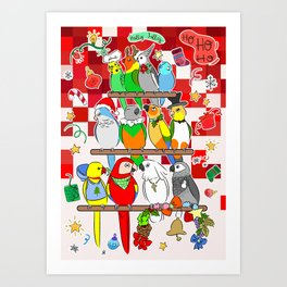 Parrot Christmas Holly Jolly Art Print