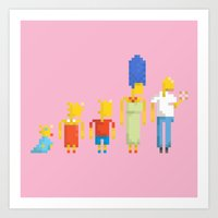 simpsons Art Prints featuring  The Simpsons by LOVEMI DESIGN