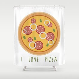 Love Pizza Shower Curtain