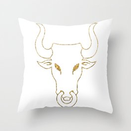 Gold Bull Head Silhouette Throw Pillow