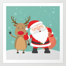 Noel and Deer Enjoying the Christmas Art Print