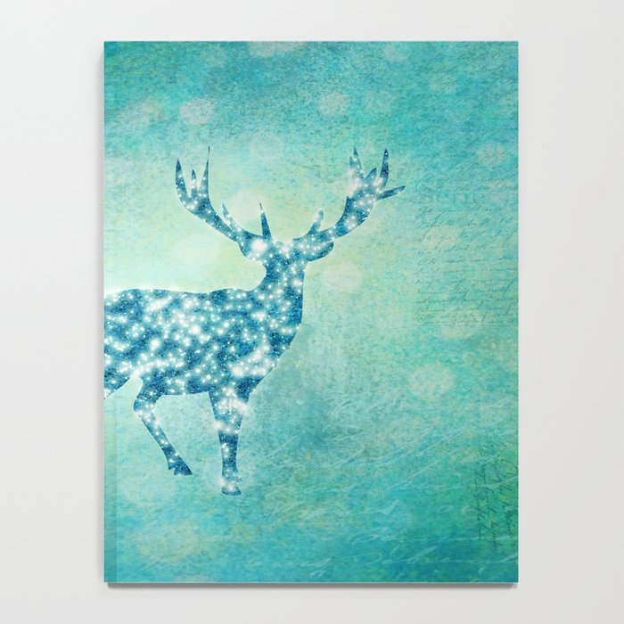 Aqua Turquoise Animal with Glitter Effect -Blue deer Notebook