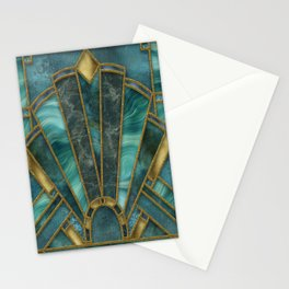 Elegant Stained Glass Art Deco Window With Marble And Gemstone Stationery Cards