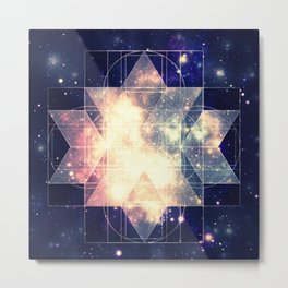 Galaxy Sacred Geometry: Golden Rhombic Hexecontahedron Metal Print