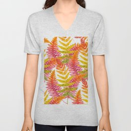 Hand painted pink orange watercolor fall fern floral Unisex V-Neck