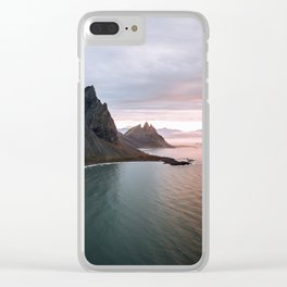 Iceland Mountain Beach Sunrise - Landscape Photography Clear iPhone Case
