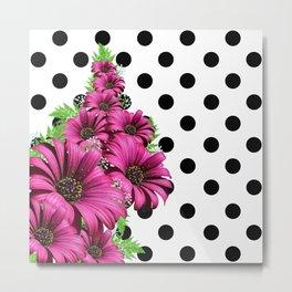 Magenta Daisy Flowers Polka Dot Metal Print