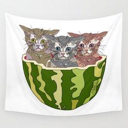 Kittens love Watermelon Wall Tapestry