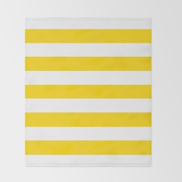School bus yellow - solid color - white stripes pattern Throw Blanket