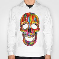 skull Hoodies featuring Chromatic Skull by John Filipe