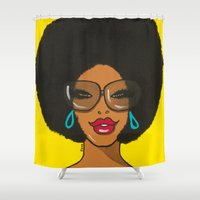 afro Shower Curtains featuring Afro Girl by CeresFaction