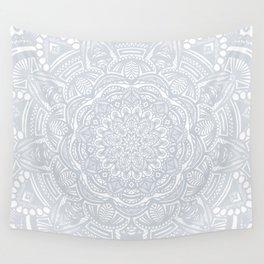Light Gray Ethnic Eclectic Detailed Mandala Minimal Minimalistic Wall Tapestry