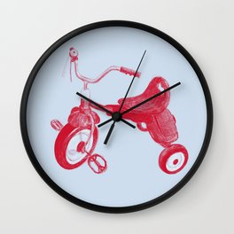 Kids Red Trike on Blue Background Wall Clock
