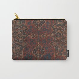 Boho Chic Dark V // 17th Century Colorful Medallion Red Blue Green Brown Ornate Accent Rug Pattern Carry-All Pouch