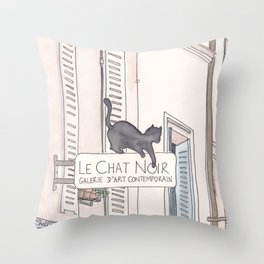 Black Cat Paris Le Chat Noir Montmartre Throw Pillow